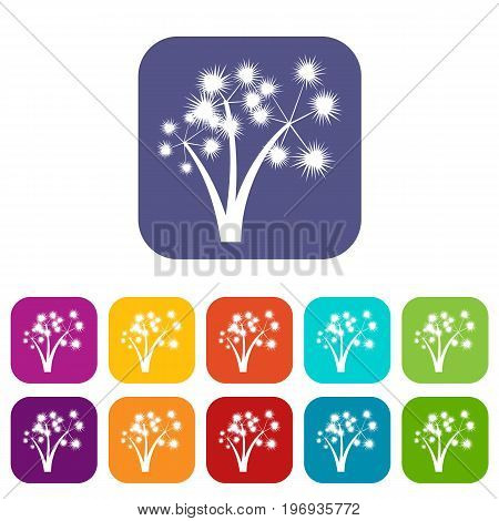 Three spiky palm trees icons set vector illustration in flat style in colors red, blue, green, and other