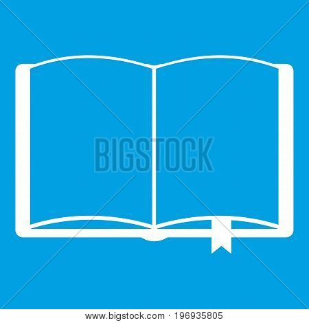 Open book with bookmark icon white isolated on blue background vector illustration