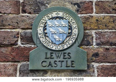 LEWES UK - MAY 31ST 2017: A plaque at the historic Lewes Castle in Lewes East Sussex UK on 31st May 2017.