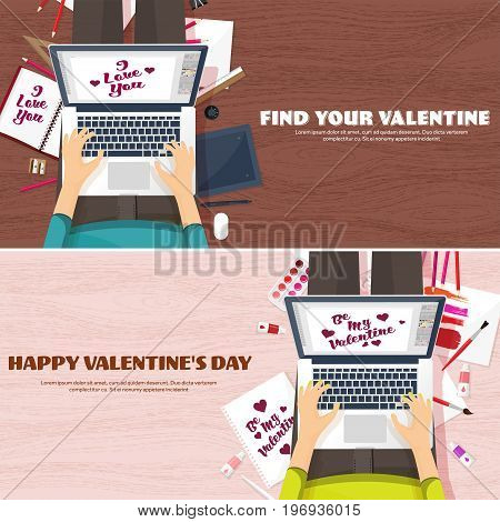 Flat background with typewriter. Love, hearts. Valentines day. Be my valentine. 14 february.Vector illustration. Holidays.Wooden background.