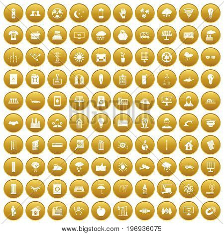 100 solar energy icons set in gold circle isolated on white vector illustration
