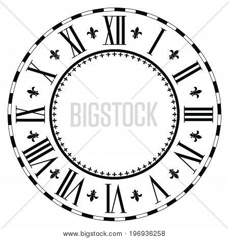 Vintage Roman numeral clock isolated on white background.