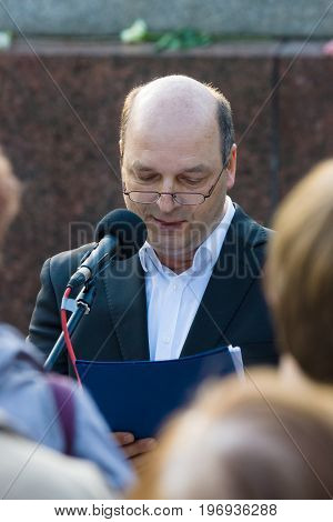 BERLIN - MAY 08 2015: Victory in Europe Day. Treptower Park. Speech by Chairman of the