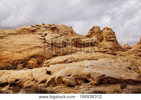 Scenic landscape of rock formation at Valley of Fire State Park southern Nevada USA