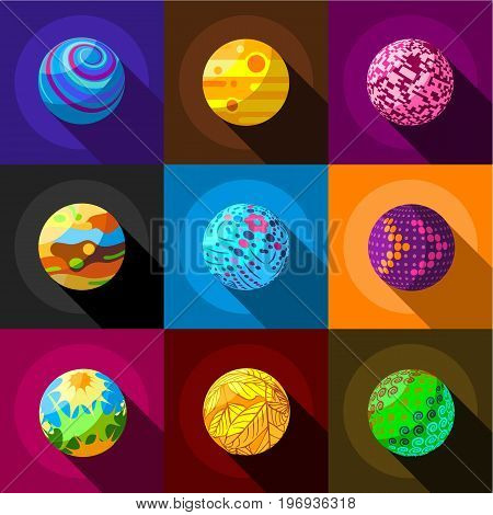 Alien planets icons set. Flat set of 9 alien planets vector icons for web with long shadow
