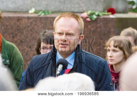 BERLIN - MAY 08 2015: Victory in Europe Day. Treptower Park. The representative of the Embassy of Belarus in Germany speaking at a memorial ceremony.