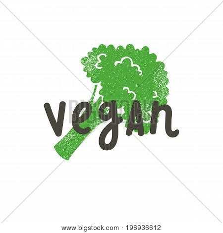 Vegan. Calligraphy And Broccoli Silhouette