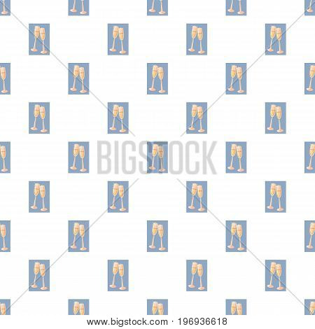 Two champagne glasses pattern seamless repeat in cartoon style vector illustration