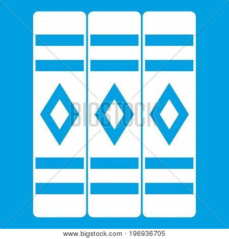 Three literary books icon white isolated on blue background vector illustration