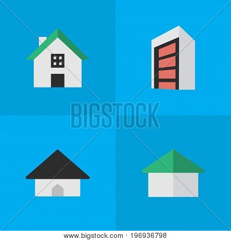 Elements Architecture, Base, Home And Other Synonyms Building, Construction And House.  Vector Illustration Set Of Simple Estate Icons.