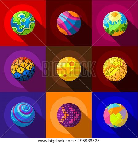 Fantastic planets icons set. Flat set of 9 fantastic planets vector icons for web