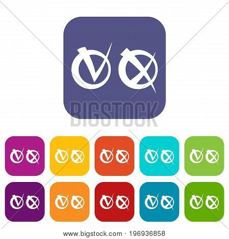 Tick and cross in circles icons set vector illustration in flat style in colors red, blue, green, and other
