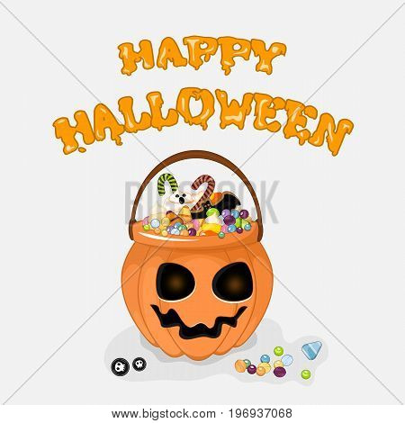 Happy Halloween vector background with text for design your postcard. Stock vector.