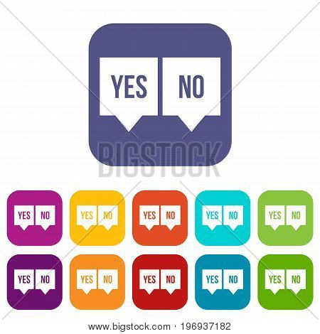 Signs of yes and no icons set vector illustration in flat style in colors red, blue, green, and other
