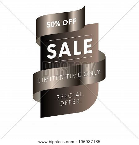 Sale special offer limited time only fifty percent off tag with brown gradient ribbon on white background isolated. Vector illustration.