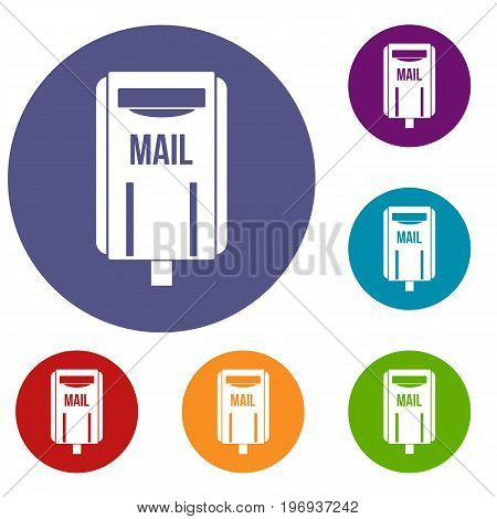 Post box icons set in flat circle red, blue and green color for web