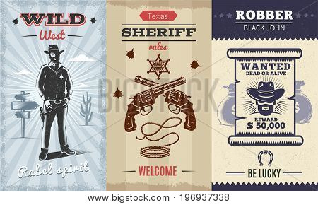 Vintage wild west vertical banners with cowboy on desert landscape crossed revolvers sheriff badge lasso wanted poster vector illustration