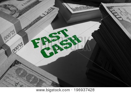 Fast Cash In Black & White With Stacks Of Money High Quality