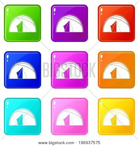 Dome tent icons of 9 color set isolated vector illustration