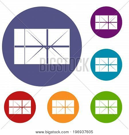 Postal parcel icons set in flat circle red, blue and green color for web