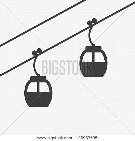 Ski cable lift icon for ski and winter sports. Design for tourist catalog maps of the ski slopes placard brochure flyer booklet. Vector illustration.