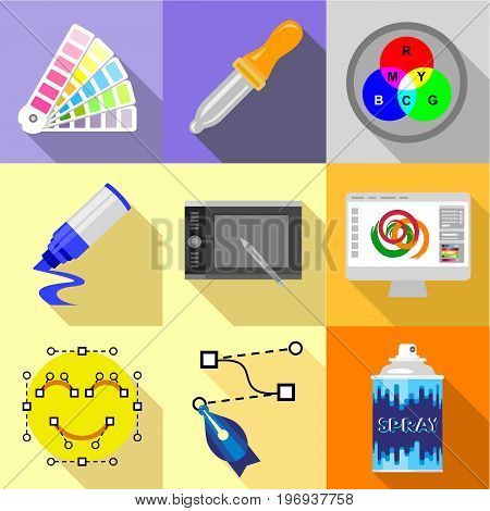 Artist equipment icons set. Flat set of 9 artist equipment vector icons for web with long shadow