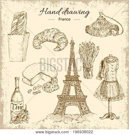 Hand drawn paris decorative icon set with different french snacks wine clothes and eiffel tower images vector illustration
