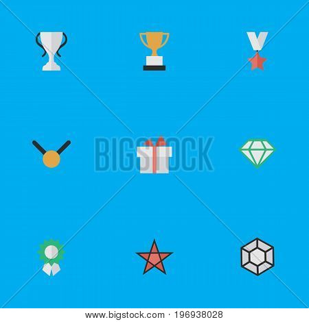 Elements Medal, Brilliant, First And Other Synonyms Precious, Brilliant And Surprise.  Vector Illustration Set Of Simple Reward Icons.