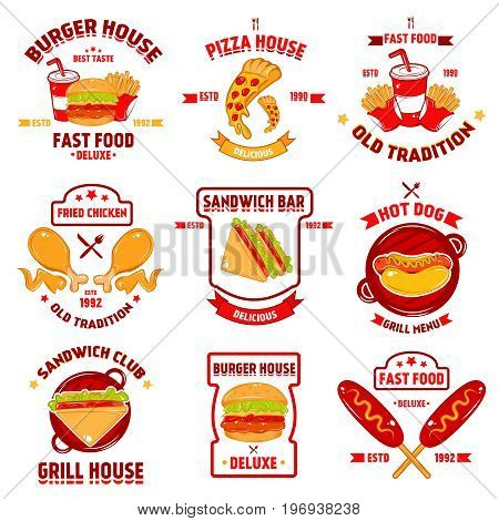 Fast food logo set with nine isolated burger fast food emblems burger sandwich pizza images captions vector illustration