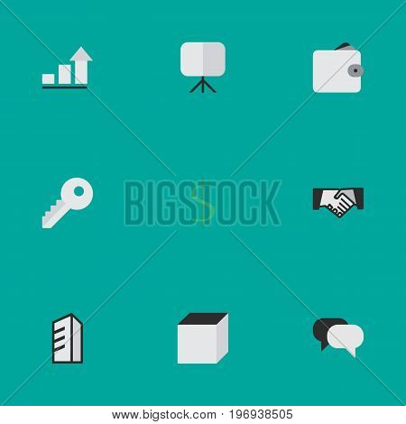 Elements Opening, Purse, Talking And Other Synonyms Purse, Easel And Board.  Vector Illustration Set Of Simple Business Icons.