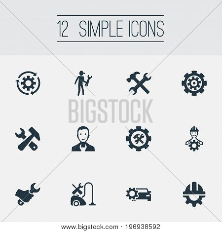 Elements Rotate, Gear, Worker And Other Synonyms Repair, Garage And Foreman.  Vector Illustration Set Of Simple  Icons.