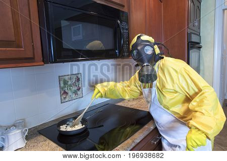 Mature Woman In Haz Mat Suit Cooking