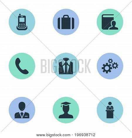 Elements Telephone, Student, Training And Other Synonyms Gear, Mobile And Coach.  Vector Illustration Set Of Simple Hr Icons.
