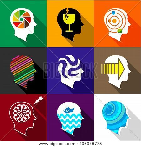 Types of mind in man icons set. Flat set of 9 types of mind in man vector icons for web with long shadow