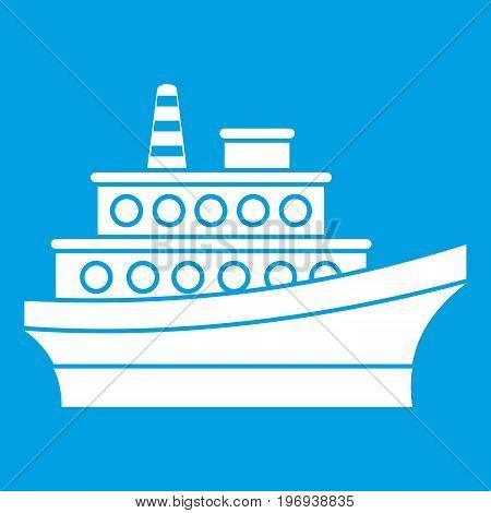 Big ship icon white isolated on blue background vector illustration