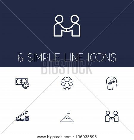 Collection Of Profit, Success, Currency And Other Elements.  Set Of 6 Strategy Outline Icons Set.