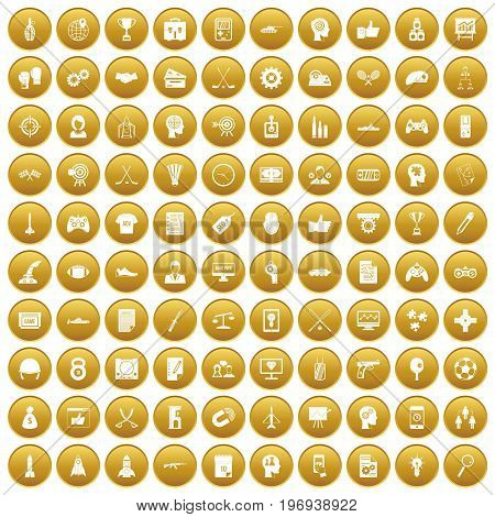 100 strategy icons set in gold circle isolated on white vector illustration