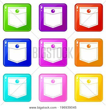 Black pocket symbol icons of 9 color set isolated vector illustration
