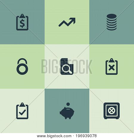 Elements Increase, Earnings, Supervision List And Other Synonyms Document, Financial And Increase.  Vector Illustration Set Of Simple Financial Icons.