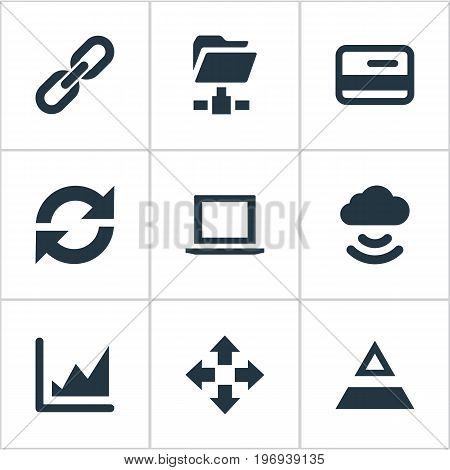Elements Increase Graph, Triangle, Digital Documnet And Other Synonyms Notebook, Folder And Update.  Vector Illustration Set Of Simple Data Icons.