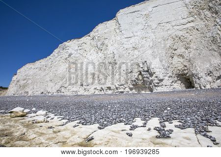 The beautiful chalk cliffs along the coastline in East Sussex in the UK.
