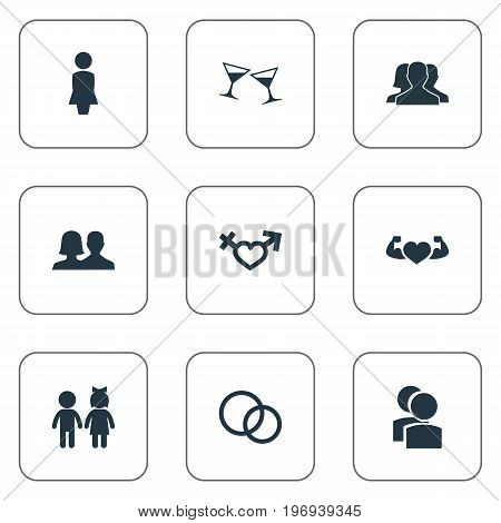 Elements Dissolve The Marriage, Strong, Mates And Other Synonyms Partners, Health And Beloveds.  Vector Illustration Set Of Simple Couple Icons.