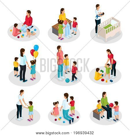 Isometric nanny work set with woman taking care of children and playing with kids isolated vector illustration