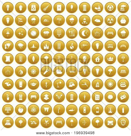 100 street lighting icons set in gold circle isolated on white vector illustration