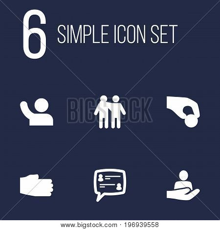 Collection Of Human, Friendship, Undertake And Other Elements.  Set Of 6 Maintenance Icons Set.