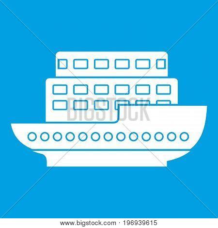 Large passenger ship icon white isolated on blue background vector illustration