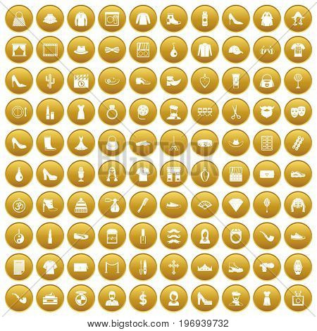 100 stylist icons set in gold circle isolated on white vector illustration
