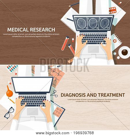 Medical flat background. Health care, first aid, research, cardiology. Medicinestudy Chemical engineering pharmacy.Wooden background.