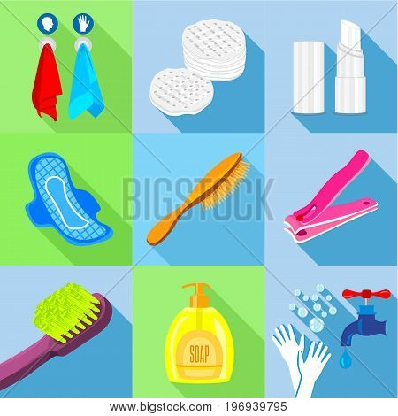 Bathroom stuffs icons set. Flat set of 9 bathroom stuffs vector icons for web with long shadow