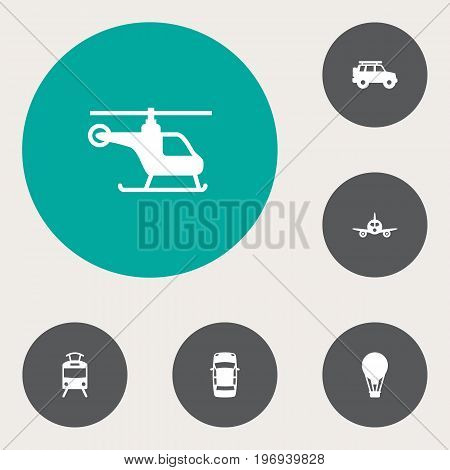 Collection Of Streetcar, Airship, Panorama And Other Elements.  Set Of 6 Traffic Icons Set.